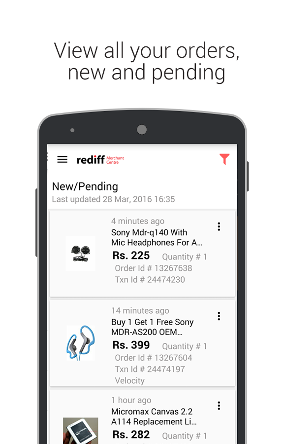 Rediff Merchant Centre- screenshot