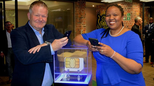 SB Mobile CEO Stephen Bailey and Funeka Montjane, chief executive for Standard Bank personal and business banking SA.