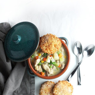 Chicken Pot Pie Soup with Cheddar Buttermilk Biscuit Topping (autumn, winter dinner recipe).