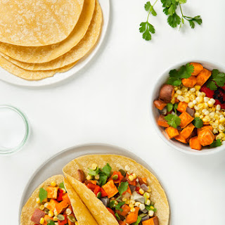 Vegan Sweet Potato Tacos with Grilled Corn & Roasted Red Pepper