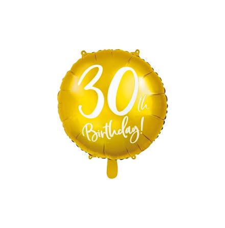 Folieballong - 30th birthday guld