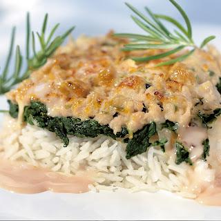 Reis-Spinat-Auflauf mit Thunfischsauce