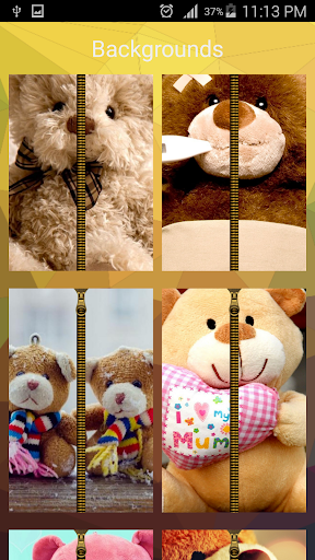 Teddy Bear Zipper ScreenLock