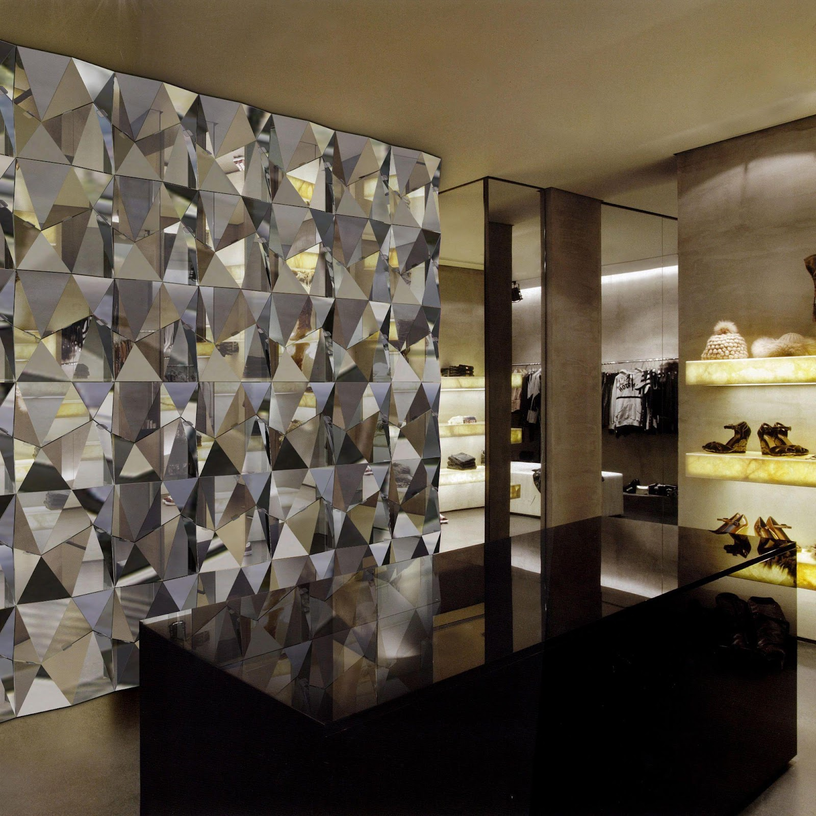 Wall-mounted modular polygon facets in mirror composite. Dimensions Shown:  3000 x 3000mm / 10' x 10' Materials Shown: ACM, … | Design, Crystal wall,  Custom lighting