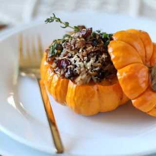 Sausage, Rice, and Cranberry Stuffed Mini Pumpkins