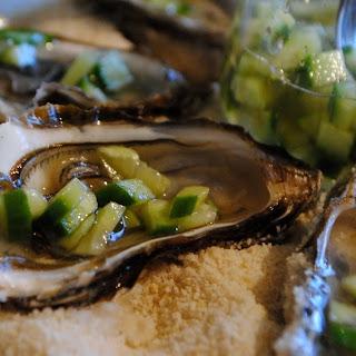 Miyagi Oysters with Cucumber Mignonette #FishFridayFoodies.