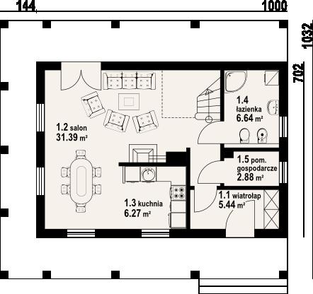 Dom mazurski dw - Rzut parteru