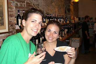 Photo: Teresa and Katie sampling olive oil and wine tasting
