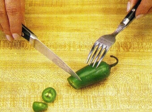 MAKING THE CHILI: To chop jalapeno pepper, use a knife and fork to hold...