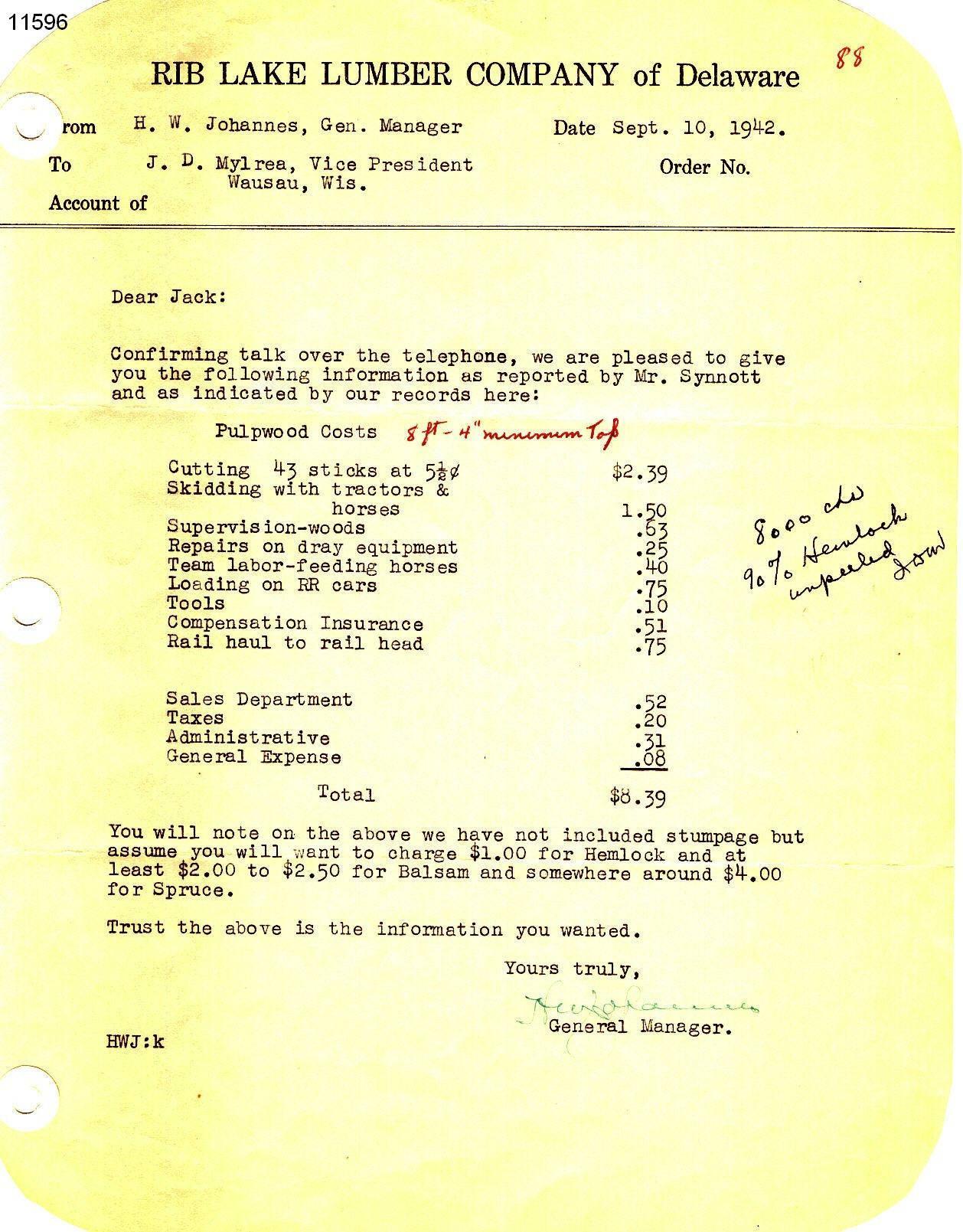 C:\Users\Robert P. Rusch\Desktop\II. RLHSoc\Documents & Photos-Scanned\Rib Lake History 11500-11599\11596-L. 9-10-1942 RLLC to John D. Mylrea re costs at RLLC.jpg