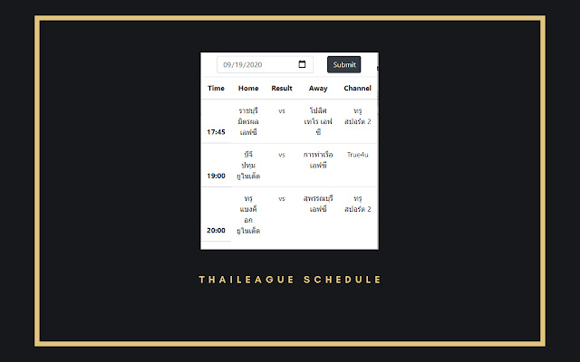 Thai league schedule