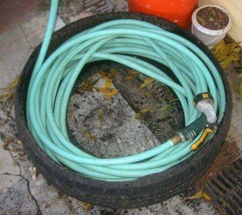 tyre garden hose caddy