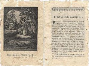 Photo: XIX-wieczny obrazek o wym. 8 x 12 cm. Na odwrocie ozdobnik i żywot z opisem tortur.