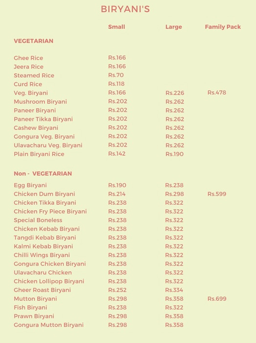 The Hyderabad Chefs menu 5