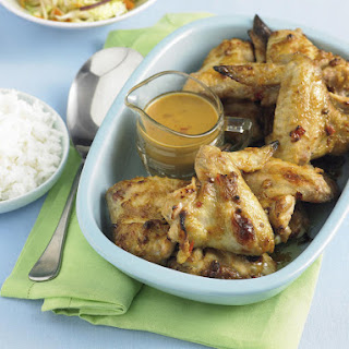 Chicken Wings with Satay Sauce.