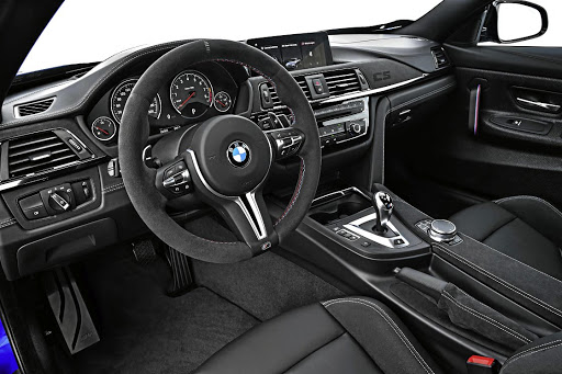 The interior has a fat steering wheel. Picture: BMW