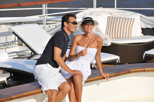 Relax by the pool on Ponant's luxury expedition ship L'Austral.