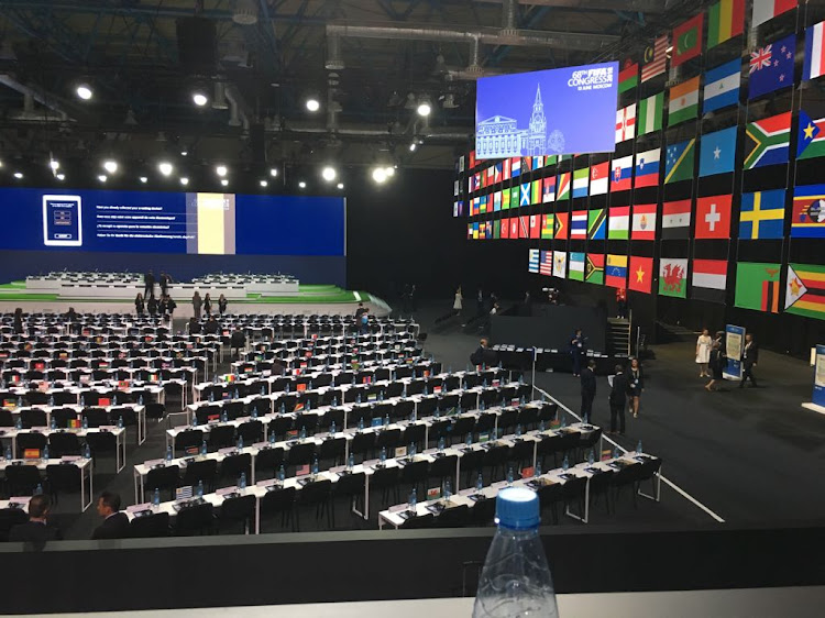 Delegates arrives at the FIFA Congress in Russia ahead of the vote for the 2026 World Cup vote. South Africa's Irvin Khoza and Danny Jordaan are in attendance and expected to snub Morocco in favour of a North American bid.