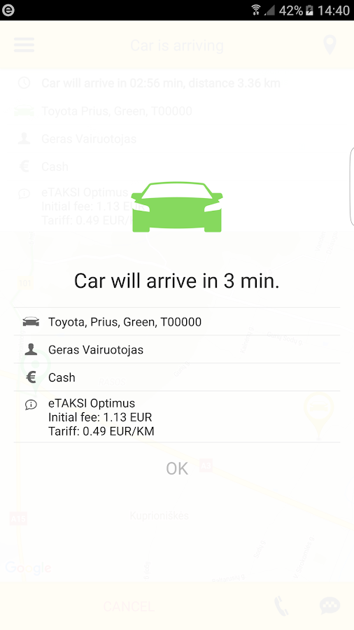 eTAKSI - get taxi in Lithuania- screenshot