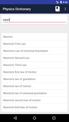 Screenshot 2 Physics Dictionary