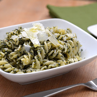 Garlic Basil Pesto with Pasta.