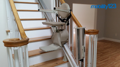 Photo: Our new cover photo is a Bruno Elan #Stairlift with a Hinged Rail.