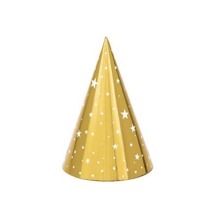 Partyhattar - Guld med vita stjärnor