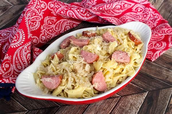 A Dish Of Kielbasa Lazy Pierogi.
