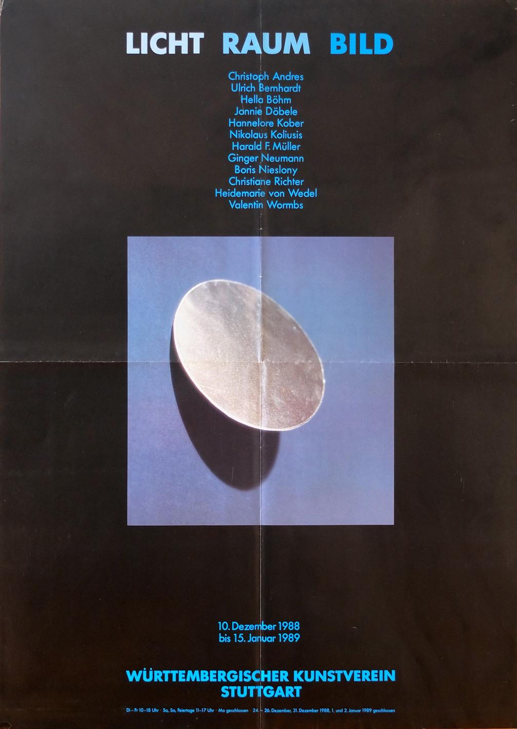 Photo: Ausstellungsplakat Licht Raum Bild DIN-A1, 89,5 x59,5 cm Württembergischer Kunstverein Stuttgart