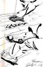 Photo: 等待2011.07.05鋼筆 在等待受保護管束人的這個當兒,腳似乎反映了各自此刻的心情,地板上的紋理彷彿在預告接下來的兩個小時…