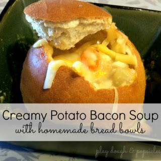 Warm Up with Creamy Potato Bacon Soup in Easy Bread Bowls