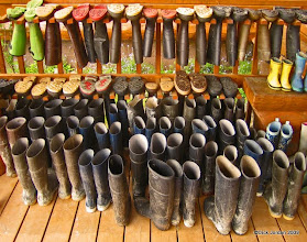 Photo: Mud Boots on The Bear Track Inn Porch, Gustavus, Alaska