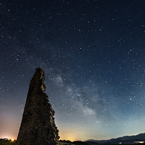 Kuletina Nutjak by Antonio Rossetti - Landscapes Starscapes ( tower, stars, milky way, river )