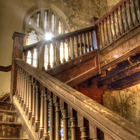 Stairway to Heaven by Pat Eisenberger - Buildings & Architecture Other Interior ( urban, window, church, stairway, decay, abandoned, building,  )