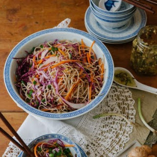 Soba Noodles with Shredded Vegetables and Ginger-Shallot Sauce Recipe