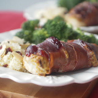 Prosciutto Wrapped Cranberry and Caramelized Onion Hummus Chicken Breasts