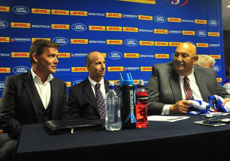 Ian Kilbride (CEO of Warwick), Paul Zacks (Western Province Rugby Group CEO) and Thelo Wakefield (WP Rugby Football Union President) during the DHL Stormers training session and press conference at DHL Newlands Stadium on February 15, 2018 in Cape Town, South Africa.