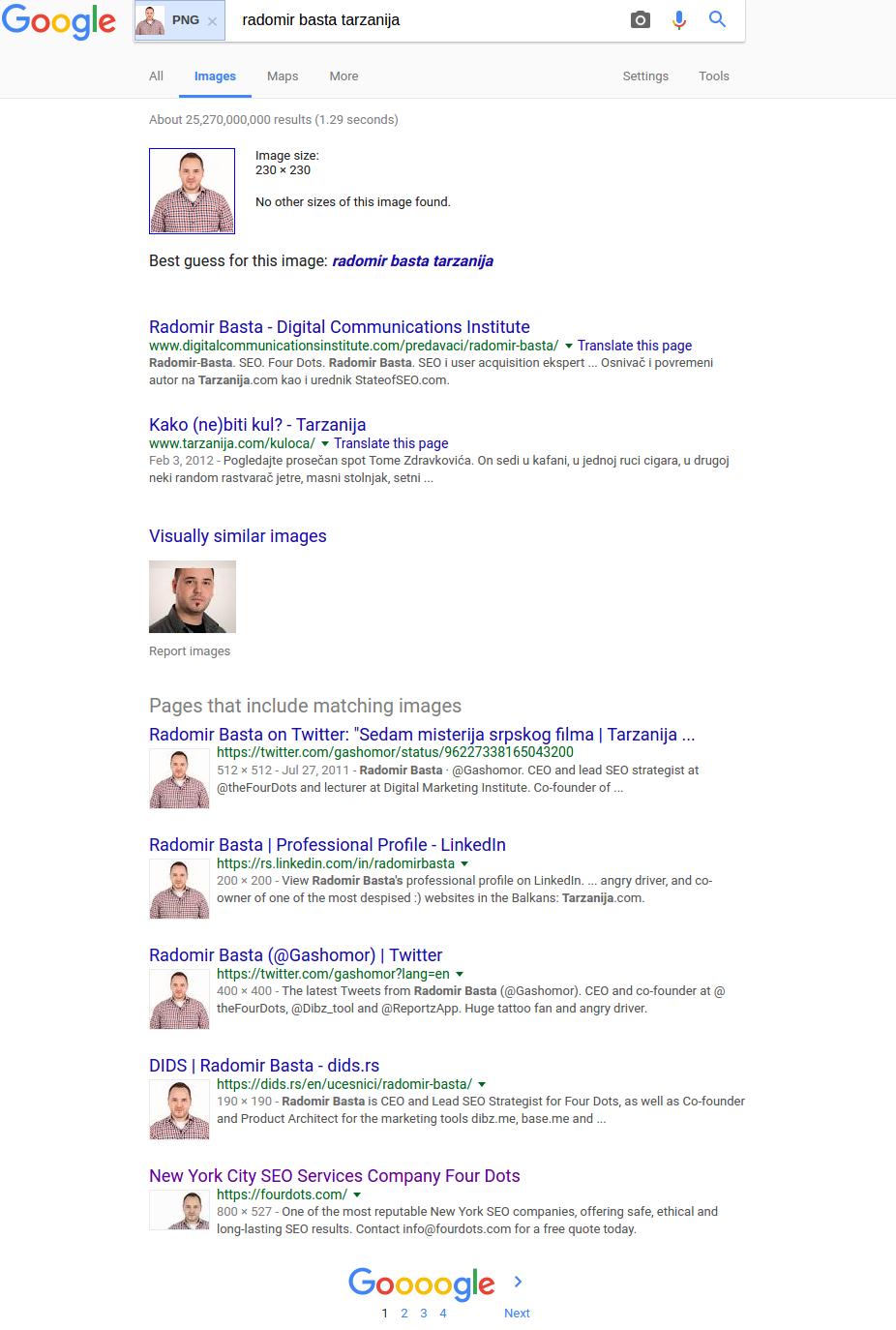 Ví dụ 3 về tìm kiếm hình ảnh đảo ngược của Google