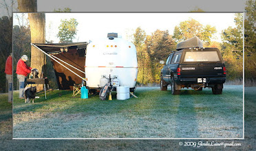 Photo: Our camp site (in the grass) on a very frosty Sunday morning.