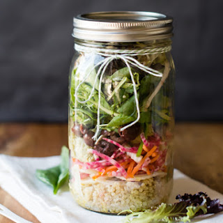 Rainbow Salad in a Jar with Avocado Hummus.