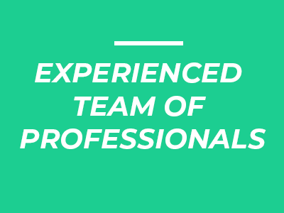 Image with writing that says Experienced team of professionals