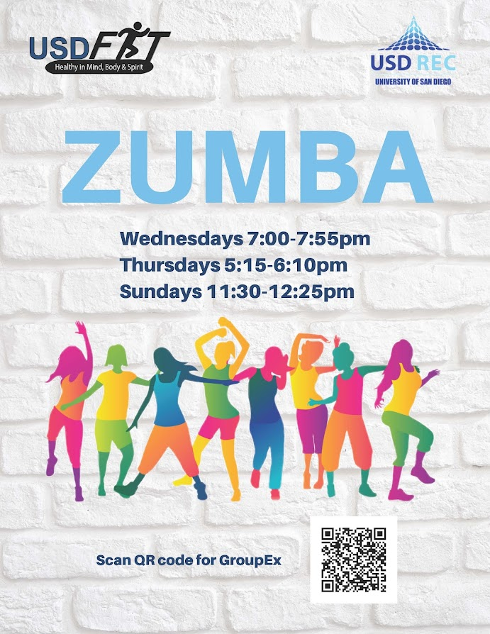 USD Fit Zumba, Wednesdays 7-7:55pm, Thursdays 5:15-6pm, Sundays 11:30am-12:25pm