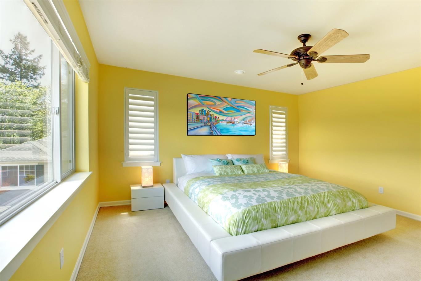 Khi chọn màu sơn cho phòng ngủ cần xác định kích thước căn phòng.