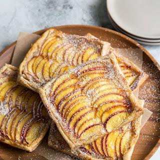 Nectarine Puff Pastry Tarts with Vanilla Bean Cream Cheese.