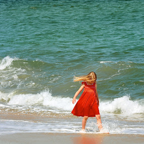 goldilocks by Dejan Gavrilovic - Babies & Children Toddlers ( girl with red dress ocean water green walking distance on the beach. benches )
