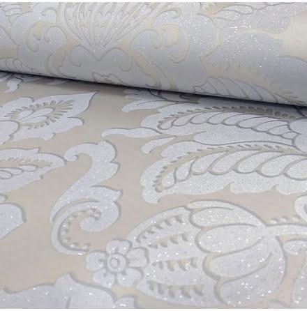 Arthouse Precious Metals Tapet med glittrande damaskmönster ART076 - Ljusgrå