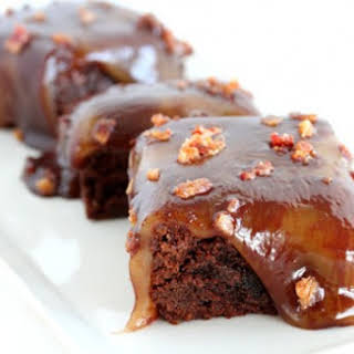 Bourbon Caramel Topped Bacon Brownies.