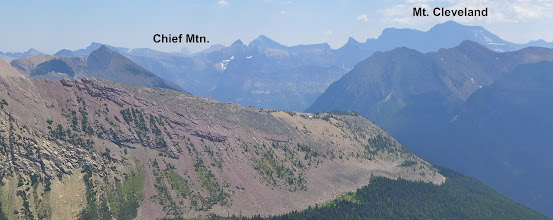 Photo: View from same unnamed peak looking into Glacier Park - Mt. Cleveland is about 9.5 miles away