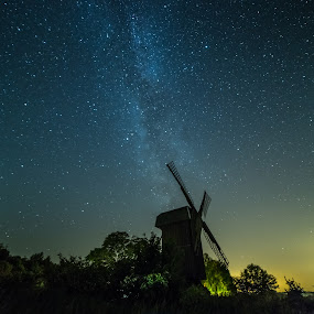 Old mill by Jocke Mårtensson - Landscapes Starscapes ( samyang, canon, mill, sweden, star, astrophotography, milky way, nightscape )