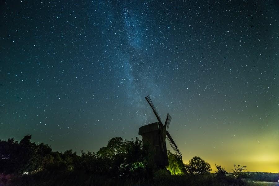 Old mill by Jocke Mårtensson - Landscapes Starscapes ( samyang, canon, mill, sweden, star, astrophotography, milky way, nightscape )